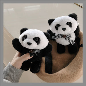 cute panda soft plush AirPods protector case
