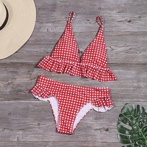 gingham falbala hem 2 pieces cute bikini set swimwear