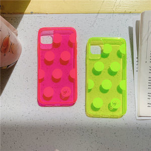 neon color polka dots transparent soft phone case