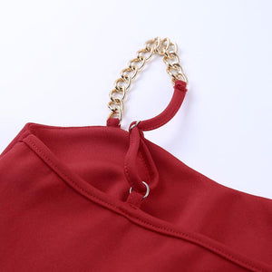 metal chain straps solid color slim bodycon dress