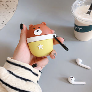 cartoon deer/bear silicone AirPods protector case