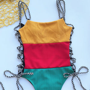 3 colors patch side lace-up one-piece swimsuit