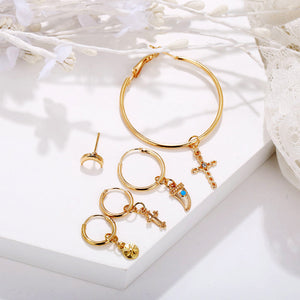 fashion star moon and cross pendant crystal studded  earrings set