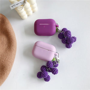 knitted grape pendant silicone AirPods protector case