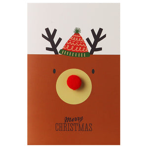 cute stuffed ball elk christmas card