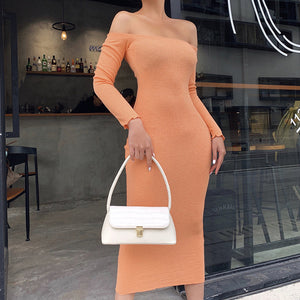 solid color slash neck knitted bodycon long dress