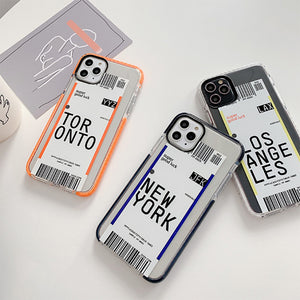 simple boarding check style transparent soft phone case