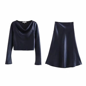 draped neck solid color satin loose blouse skirt casual women set