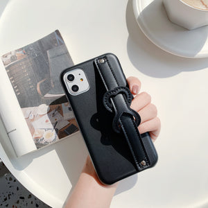 solid color hand strap PU soft cover phone case
