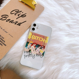 funny princess designs transparent soft phone case