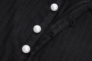 v neck solid color pearls buttons crop top cardigan