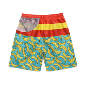 banana printed quick dry beach loose shorts