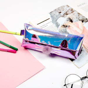 cool laser cat shaped pencil bag