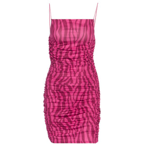 rose zebra printed pleated strappy slim bodycon dress