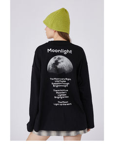 moon printed o neck sweatshirt