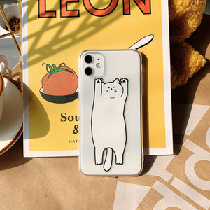 funny cat printed transparent soft phone case