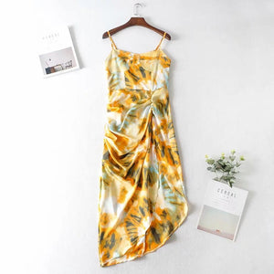 retro style printed irragular pleated strappy slim dress