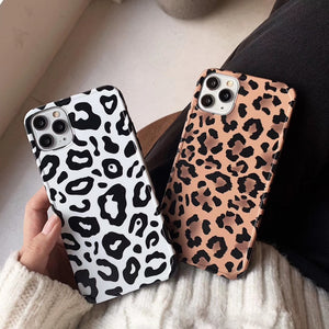 retro leopard print matt soft phone case