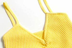 new basic solid color knitted pleated slim crop tank top