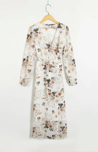 retro chiffon floral printed V neck belted long dress