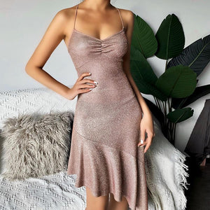 glitter strappy asymmetric back bandaged fishtail dress