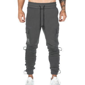 men multi-pocket overalls fitness pants