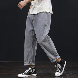 elastic waist loose leisure cropped jeans