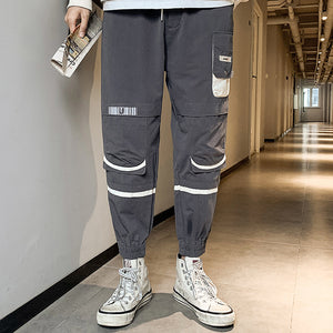 multi-pocket loose-fitting strappy men's pants