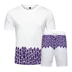 crack printing contrast color t-shirt shorts set