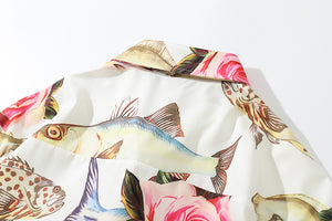 tropical fish printed turn down collar short sleeved shirt