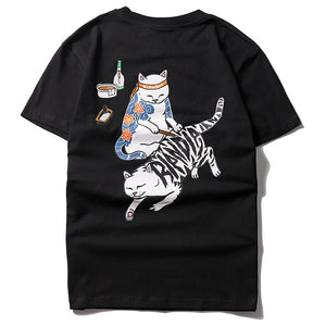 cat print o neck t-shirt