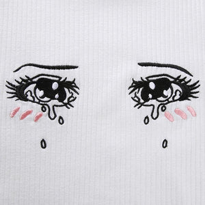 cartoon weeping eyes embroidered knitted crop top