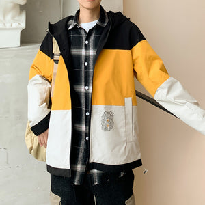 color matching casual zipper coat