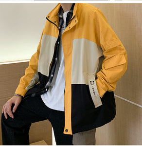color blocking casual stand collar jacket coat