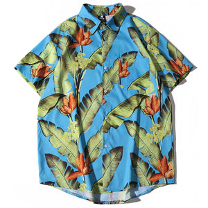 leaves printed Hawaii loose men shirt