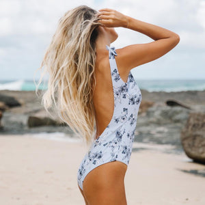 simple floral printed backless bow-tie straps swimsuit