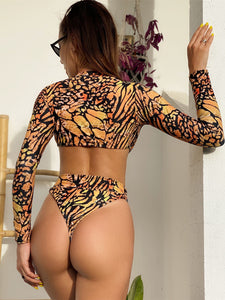 printed long sleeved hollow out one-piece swimwear bikinis
