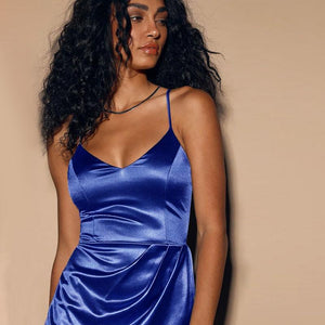 v neck satin strappy irregular pleated slim mini dress