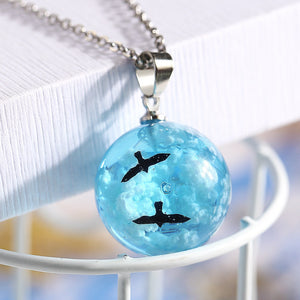 simple blue sky and white clouds bird pendant choker necklace