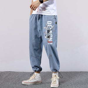 red-crowned crane printed elastic waist loose jeans