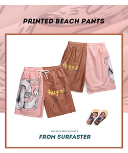 2020 casual loose mesh five-minute pants cartoon printed men's shorts beach shorts