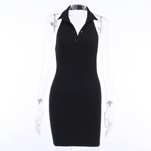 solid color polo neck front buttons backless halter bodycon dress