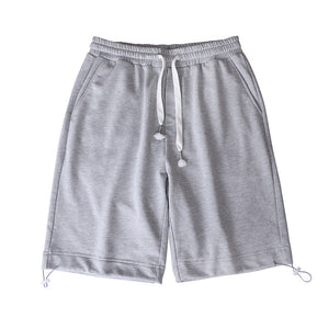 solid color drawstring men loose middle shorts