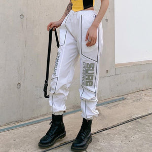 light-reflective letters printed punk white casual jogger pants