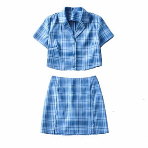 high waisted side slit blue tartan slim mini skirt