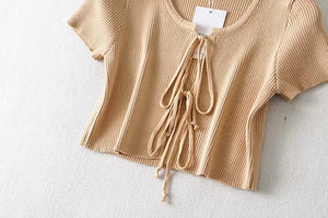 solid color double bow-tie knitted short sleeved cardigan top