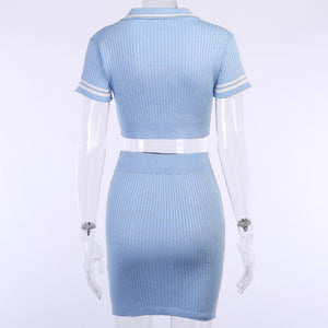 polo neck front buttons slim knitted two-pieces dress women set