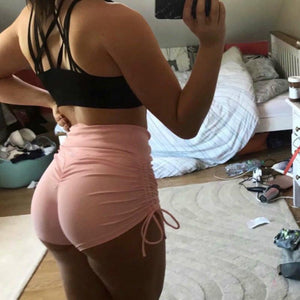 side drawstring high waisted candy color slim sports yoga shorts
