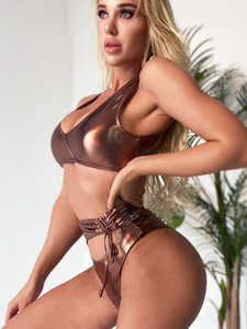 punk metallic bandaged hollow out 2 pieces bikini set women swimwear