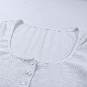 basic front buttons solid color slim crop top